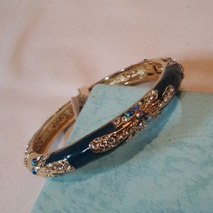 Teal/Gold Open Clasp Bracelet